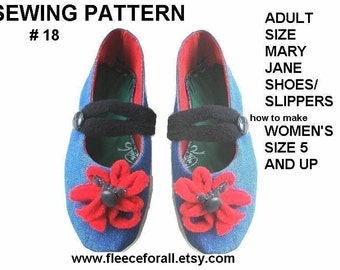 FF 18, SEWING PATTERN, Denim Mary Jane Slipper Shoes for Adults - Instant Download - instructions for all women's sizes from 5 to 11