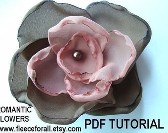 Romantic Fabric Flowers PDF pattern tutorial - Instant Download  FF145
