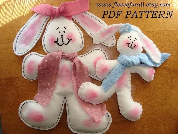 SEWING PATTERN No. 11 Felt or Polar Fleece Bunny - stuffed toy - Make it any size - Instant Download