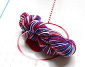 Red White and Blue self-striping sock yarn