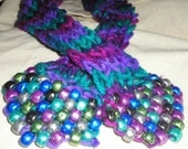 Vegan 61in Thin Knit Scarf or Sash with Beads Purple Magenta Blue Turquoise