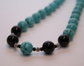 Sophisticated Upgrade - Turquoise Howlite and Black Onyx (12mm) Necklace, Bracelet and Earrings Set - FREE SHIPPING