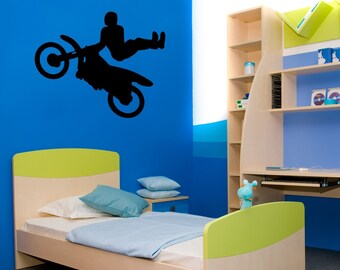 Dirt bike decal-Motocross decal-Motorcyle sticker-Kids room decor-26 X 32 inches
