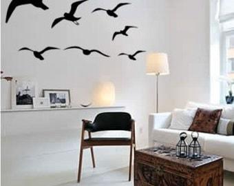 Seagull flying wall decal-Bird decal-Flying bird decal-Dorm room decal-Bedroom decor-Vinyl wall bird art-Big 48 X 27 inch sticker
