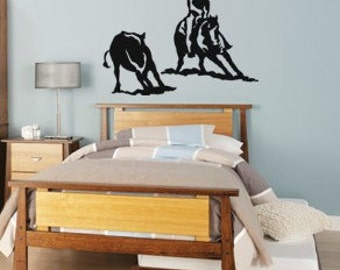 Horse decal-Horse-Cutting horse-Western-Horse Wall Decal-Equestrian-Vinyl wall sticker-24 X 23 inches