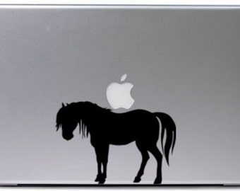 Horse laptop decal, notebook sticker, pony decal, mustang computer sticker, college student decal, girls room decal,-5 X 8 inches,251-HSL