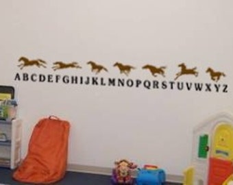 Alphabet decal-abc sticker-horse wall decor-60 X 8 inches