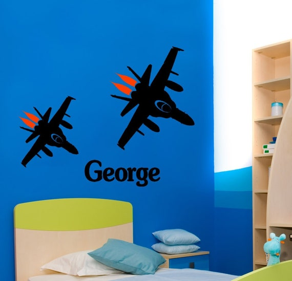Personalized Jet Fighter decal--Big 42 X 33 inch sticker