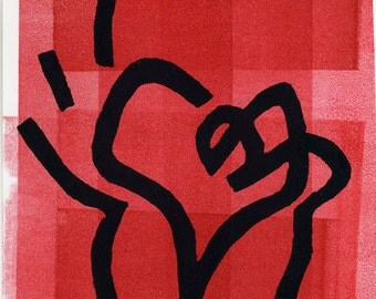 Heart in a Cup Valentine - Lino Print 2