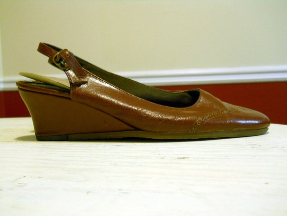 CLEARANCE-  Faux Leather Slingback Wedges - Sz 6.5 or 7