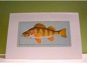 Handmade Metallic Blue Striped Fish Card