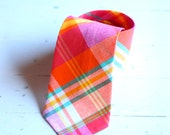 The Beau- men's preppy plaid necktie- orange, teal, and fuchsia