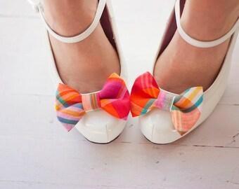 Shoe Clips, Shoe Bow Clips, Shoe Bows, Bows, Shoe Accessories, Shoe Bow Tie Clips, Bow Tie - Fuchsia, Teal, Orange Organic Madras Plaid