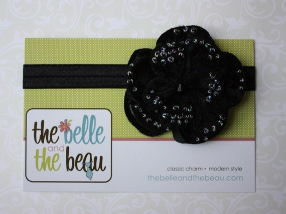 SUPER SALE- black elastic interchangeable headband\/black bloom