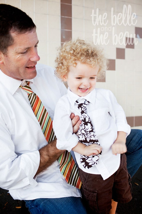 The Beau- brown/white damask necktie for boys of all ages