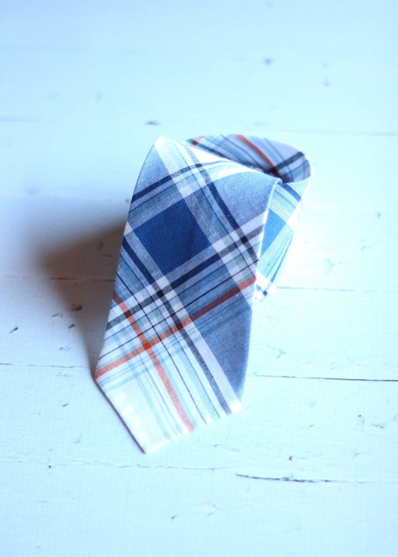 The Beau- blue and orange preppy plaid necktie for boys of all ages