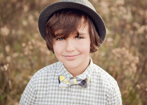The Beau- grey, yellow, and black preppy plaid double stacked bow tie for boys and men of all ages