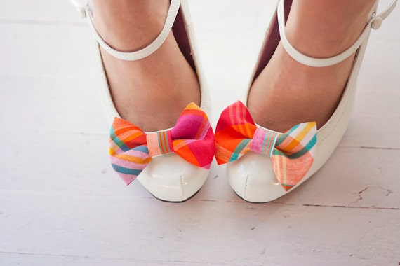 Shoe Clips, Shoe Bow Clips, Shoe Bows, Bows, Shoe Accessories, Shoe Bow Tie Clips, Bow Tie - Fuchsia, Teal, Orange Organic Madras Plaid