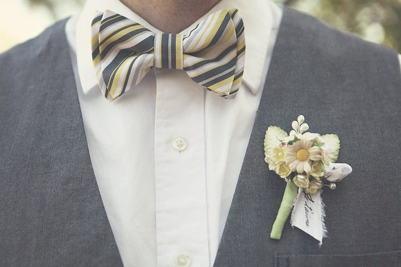 The Beau- grey and yellow preppy stripe double stacked bow tie for boys and men of all ages