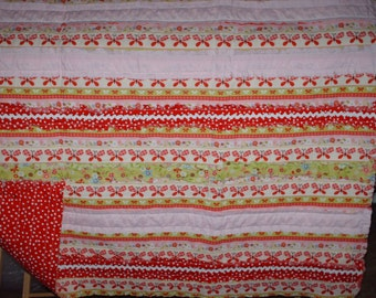 Baby Strip Rag Quilt Red, Green, Pink, And White With Flowers And Butterflies