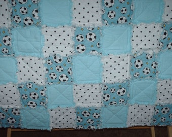 Baby Blue Soccor Ball and Polka Dots Flannel Rag Quilt
