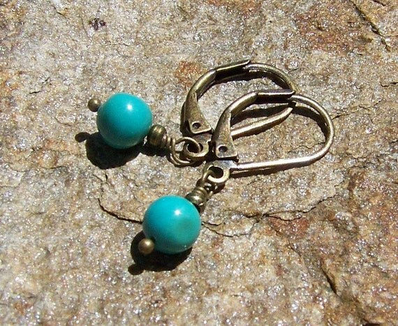 Petite Turquoise earrings, antiqued brass leverback