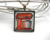 Red Kitchenaid Mixer Hand Painted Necklace