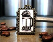 French Press Coffee Love Hand Painted Necklace