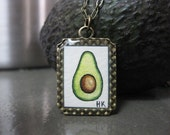 Avocado Necklace - Original Watercolor Hand Painted Necklace Pendant - Black Friday Sale / Cyber Monday Sale, FREE SHIPPING