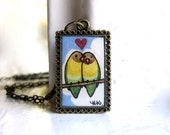 Lovebirds Necklace - Original Watercolor Hand Painted Necklace Pendant - Love Birds Jewelry