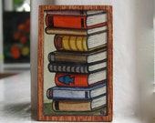 Hand Painted Brooch Pin -  Tall Stack of Old Books, Hand Painted on Wood Brooch