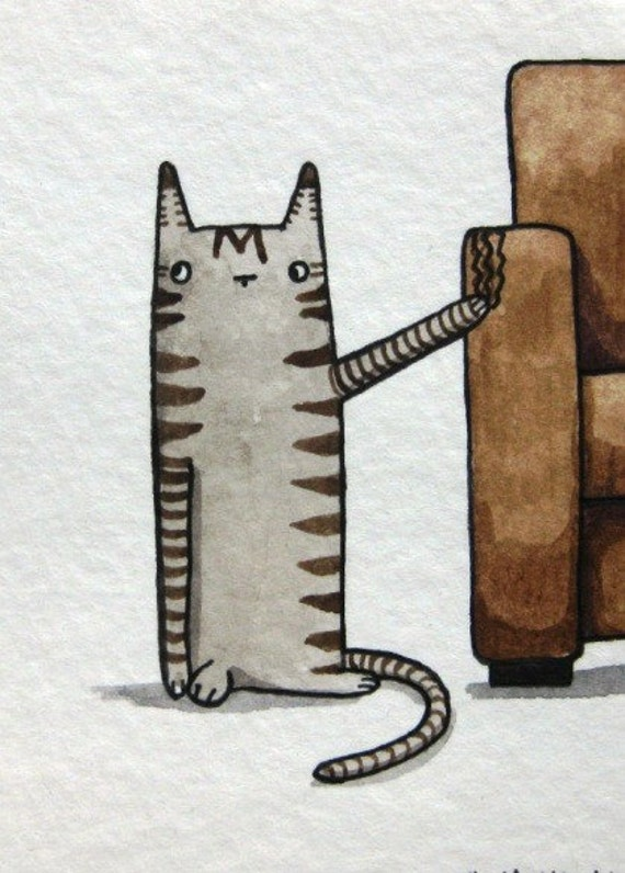 Bad Kitty - Original Watercolor Painting, ACEO Art - Black Friday Sale / Cyber Monday Sale, FREE SHIPPING