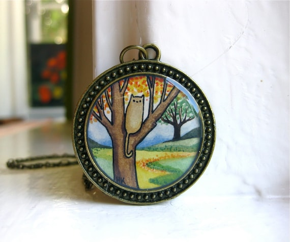 RESERVED FOR JOSH Hand Painted Necklace, Cats Love Trees - Hand Painted Pendant Necklace, Original Watercolor Painting