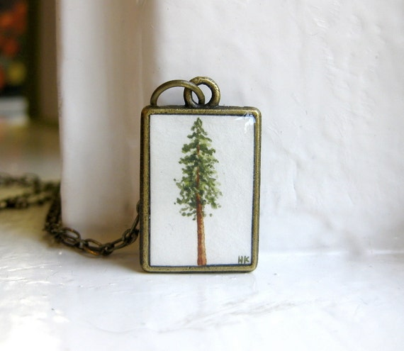 Redwood Pine Tree Necklace - Hand Painted Pendant Necklace, Original Painting