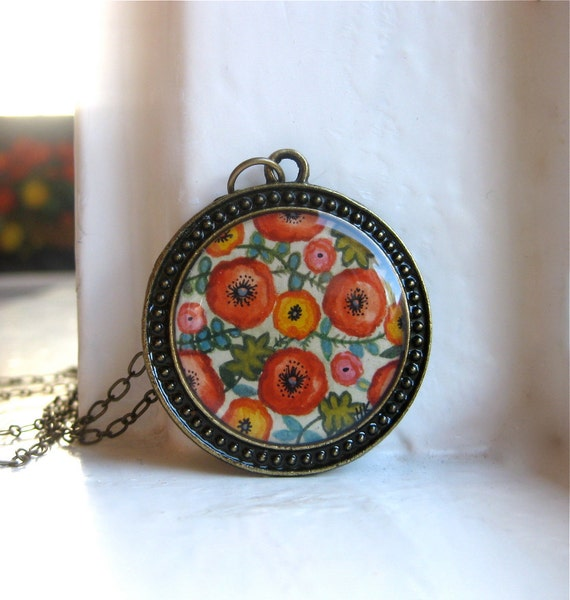 Black Friday / Cyber Monday SALE - Hand Painted Necklace, Flower Garden - Inspired by Vintage Fabric, Gifts Under 50