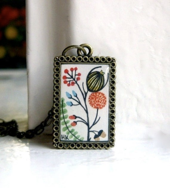 Hand Painted Necklace - Classic Beauty No. 1 Original Watercolor Handpainted Art Pendant Necklace - Valentines Day
