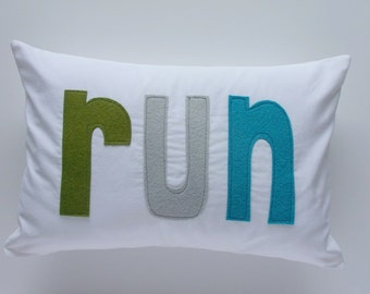 Run Pillow - Green, Gray, Aqua