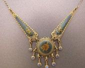 Vintage Enameled Necklace with Rhinestone Dangles