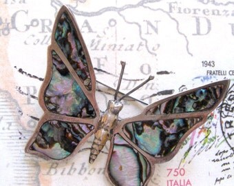 Sterling Abalone Vintage Butterfly Brooch