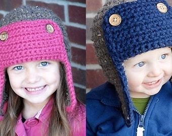 The Bomber Hat Crochet Pattern *Instant Download* (Permission to sell all finished products)