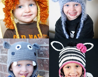 Animal Hat Patterns Crochet Collection 3 *Instant Download* (Lion, Koala, Hippo & Zebra/Horse), (Permission to sell all finished products)