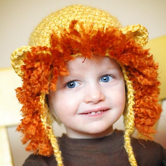 Free Crochet Pattern For Lion Hat : Lion Earflap Hat Crochet Pattern Permission to by ...