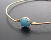 Turquoise Bracelet Virginia - Gold and Turquoise Bracelet, Blue Turquoise Jewelry, Turquoise Bangle Bracelet, Turquoise and Gold Jewelry