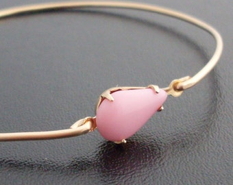 Bangle Bracelet 'Mina' - Gold Tone, Salmon Pink