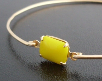 Sunshine Yellow Bangle Bracelet Claudia - Yellow Bracelet, Sunny Yellow Stone Bracelet, Bridal, Yellow Bridesmaid Jewelry, Yellow Jewelry