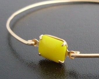 Sunshine Yellow Bangle Bracelet Claudia - Yellow Bracelet, Sunny Yellow Stone Bracelet, Bridal, Yellow Bridesmaid Jewelry, Yellow Jewelry
