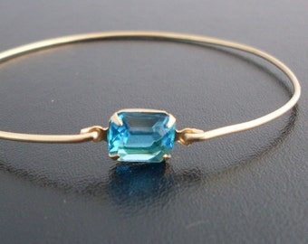 Bangle Bracelet 'Carina' - Gold Tone, Turquoise