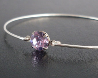Lilac Bangle Bracelet, Danela - Silver, Lilac Purple Rhinestone, Lilac Bracelet, Lilac Jewelry, Purple Bangle Bracelet, Purple Bracelet