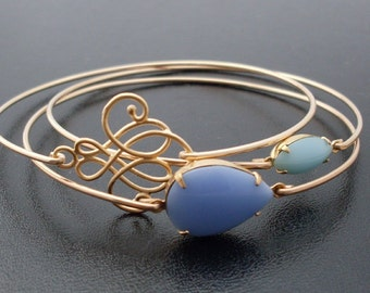Blue Skies Ahead Bangle Bracelet Set, Gold, Stack Bracelet Set, Turquoise, Blue Stone Jewelry, Sky Blue Bracelet Set, Blue & Gold Bangle Set