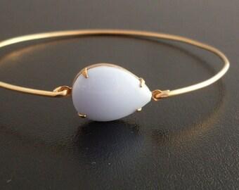 Handmade Bangle Bracelet Malinda - Gold Tone, Lilac Stone, Handmade Bracelet, Handmade Jewelry